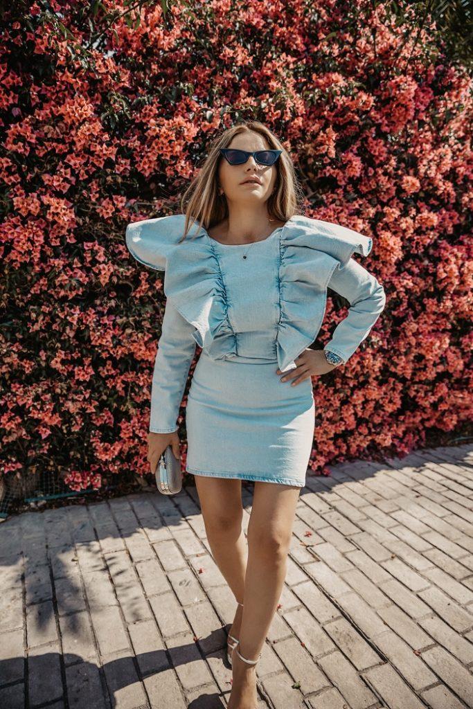 vestido denim Zara